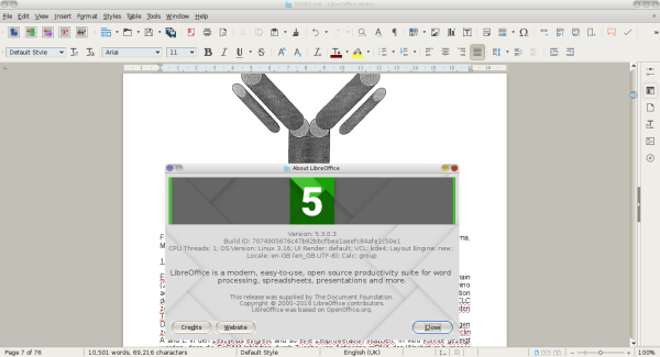 LibreOffice 5.3 Writer in action