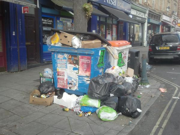 Stapleton Road trade bins with associated fly-tipping