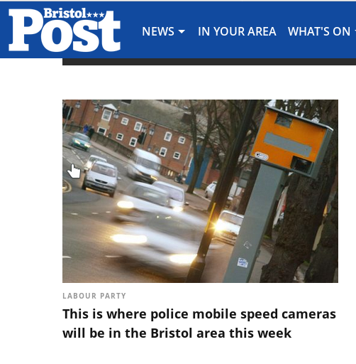 text reads Labour Party This is where police mobile speed cameras will be in the Bristol area this week