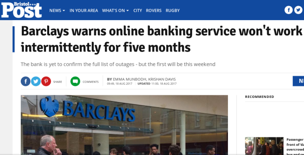 headline reads Barclays warns online banking service won't work intermittently for five months