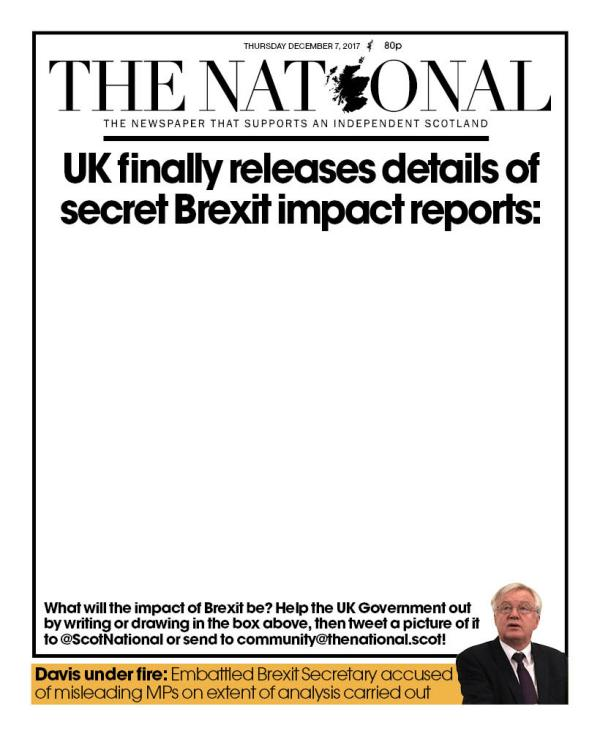on blank page paper has headline stating UK finally releases details of secret Brexit impact reports