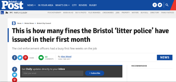 sub-heading under headline reads the civil enforcement officers had a busy first few weeks on the job