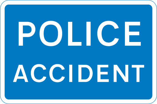 Police Accident road sign
