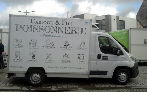 Fish van seen in Fouesnant market. Brittany