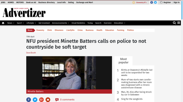 headline reads NFU president Minette Batters calls on police to not countryside be soft target