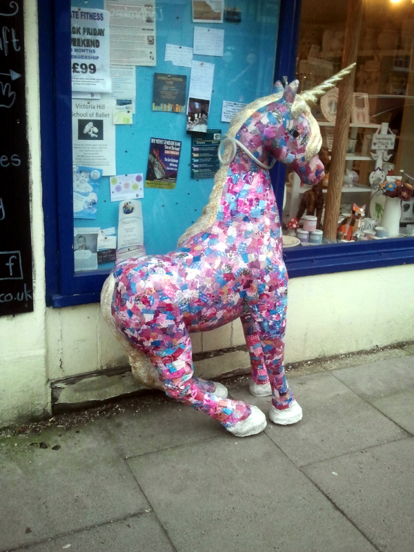 a papier maché unicorn spotted in Witney Oxon