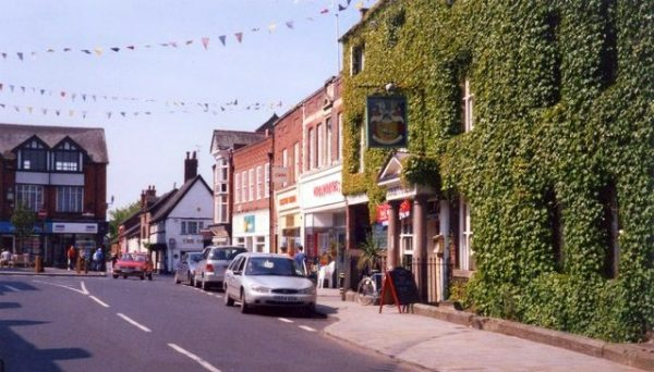 High Street Market Drayton with the Corbet Arms Hotel on the right