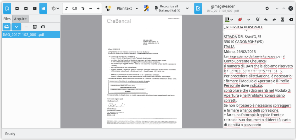 Gimagereader in action on Italian language PDF