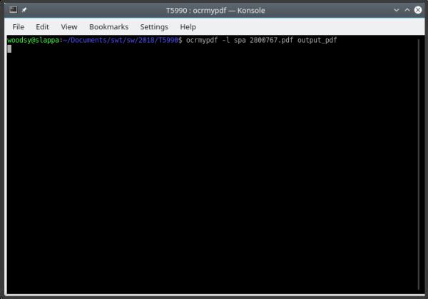 ocrmypdf in action in KDE Konsole terminal