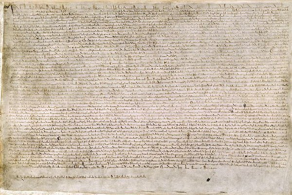 image of 1 of 4 surviving original copies of Magna Carta, now in the British Library