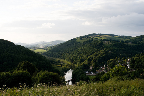 The view up the Wye to Monmouth from the Barncamp site