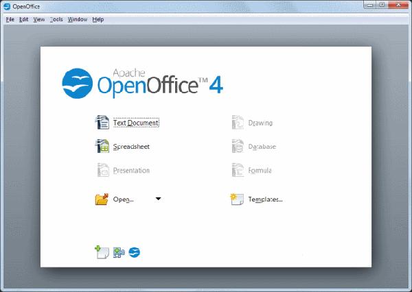 screenshot of OpenOffice splash screen