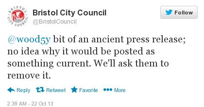 screenshot of BCC tweet