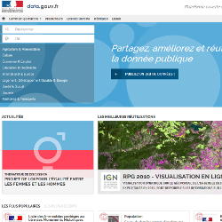 screenshot of French government's open data site