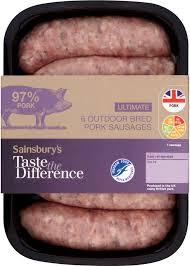 pack shot of sausages