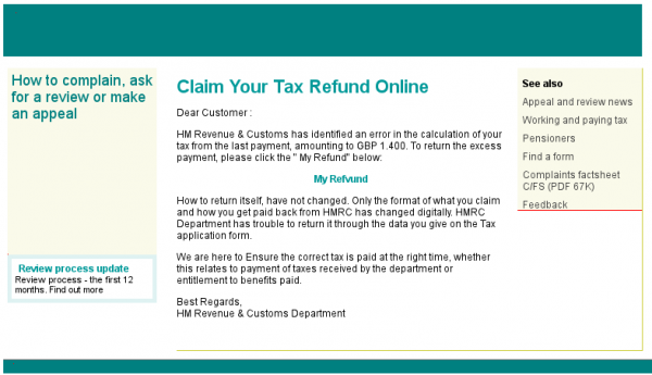 screenshot of phishing email offering tax refund