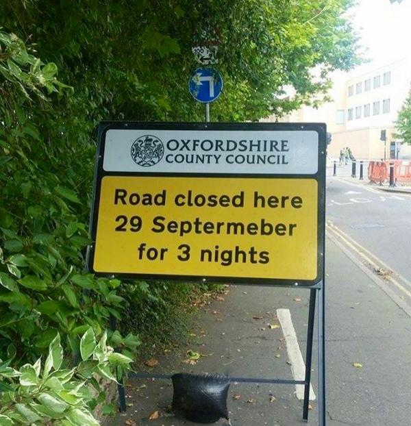 road sign with misspelling Septermeber