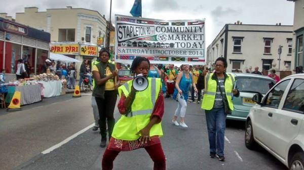 image of march starting Stapleton Road Community market