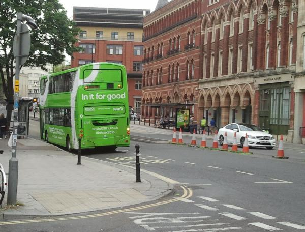 FirstGroup bus in full greenwash livery