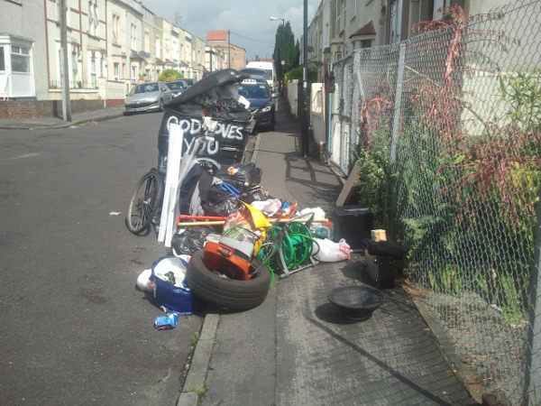 fly-tipping in Woodborough Street, BS5