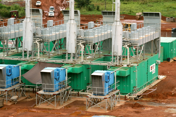 diesel generating plant somewhere in Africa
