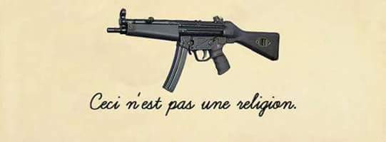 picture of machine gun with caption this is not a religion