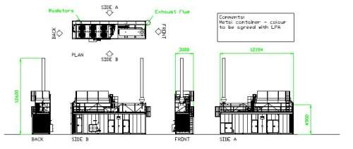 drawing of one of the 14 generators refused planning permission