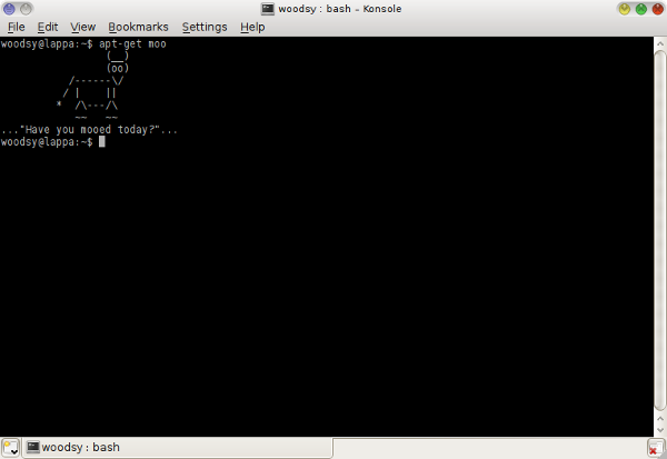 screenshot of apt-get moo command giving output of cow saying have you mooed today?
