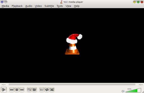 screenshot of VLC media player wearing its Christmas hat