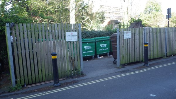 Communal bins screened by Bristol City Council to protect the delicate eyes of Clifton residents