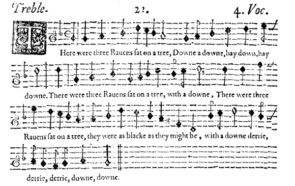 image of musical score for The Three Ravens ballad