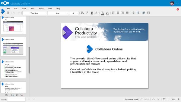Collobora Presentation running on Nextcloud