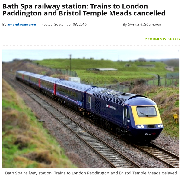 photo caption on Chronicle piece reads Bath Spa railway statio Trains to London Paddington and Bristol Temple Meads delayed or cancelled